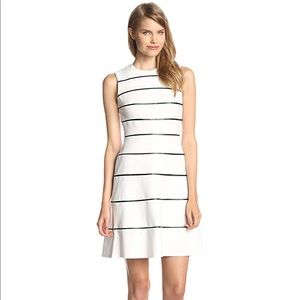 Calvin Klein Dresses - Calvin Klein Striped Faux Leather Flare Dress 2